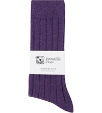 Johnstons Ribbed Cashmere Blend Socks Purple Mel