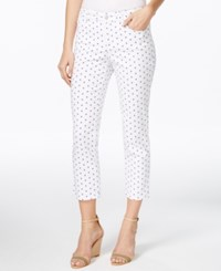 Charter Club Bristol Slim Printed Capri Jeans White Sailboat
