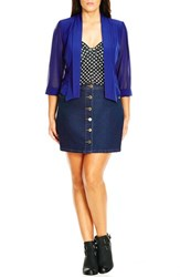 City Chic Plus Size Women's Chiffon Sleeve Crop Blazer Cobalt