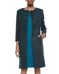 Albert Nipon Metallic Tweed Coat And Solid Malachite