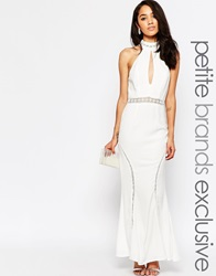 Jarlo Petite Halter Neck Maxi Dress With Front Keyhole Detail Ivory