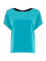 Episode Short Sleeve Oversize Contrast Neck Trim Top Blue