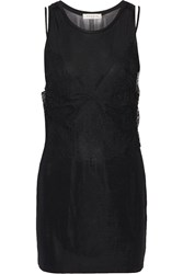 Sandro Ruppa Lace Paneled Stretch Knit Mini Dress Black