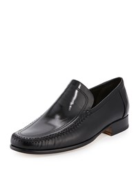 Bruno Magli Ascoli Whipstitch Leather Loafer Black