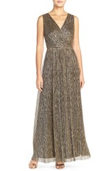 Women's London Times Embellished Waist Crinkle Metallic Gown