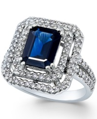 Macy's Sapphire 9 10 Ct. T.W. And Diamond 5 8 Ct. T.W. Ring In 14K White Gold Blue