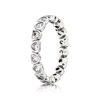Pandora Design Heart Silver Ring With Cubic Zirconia