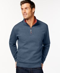 Tommy Bahama Men's Big And Tall Flip Side Reversible Zip Neck Sweater Dark Tahoe Heather