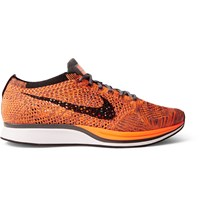 Nike Running Flyknit Racer Mesh Sneakers Orange
