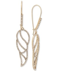 Betsey Johnson Gold Tone Crystal Pave Openwork Wing Drop Earrings