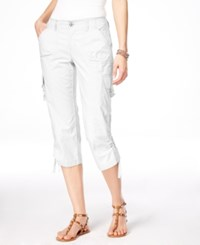 Inc International Concepts Curvy Fit Cargo Capri Pants Only At Macy's Bright White