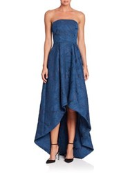 Monique Lhuillier Strapless Embroidered Hi Lo Gown