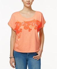 Miss Me Embroidered T Shirt Orange