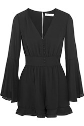 Alexis Martine Silk Organza Trimmed Crepe Playsuit Black