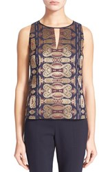 Women's Tory Burch Sleeveless Keyhole Metallic Jacquard Shell