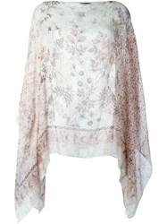 Etro Semi Sheer Floral Print Boat Neck Tunic Pink And Purple