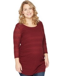 Motherhood Maternity Plus Size Lace Tunic Burgundy