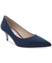 Nina Teressa Pointed Toe Kitten Heel Pumps Women's Shoes New Navy