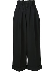 Comme Des Gara Ons High Waisted Cropped Trousers Black