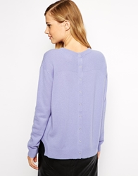 Whistles Jumper In Cashmere With Popper Back Lilac