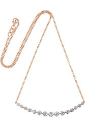 Anita Ko Large Crescent 18 Karat Rose Gold Diamond Necklace