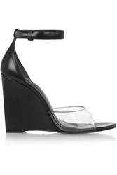 Alexander Wang Erika Leather And Pvc Wedge Sandals Black