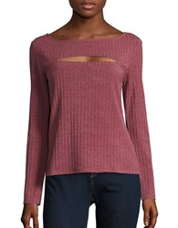 H Halston Cutout Ribbed Knit Sweater Burgundy