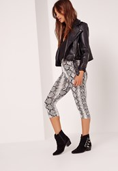 Missguided Snake Print Crop Leggings Multi Multi