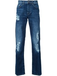 Iceberg Distressed Slim Fit Jeans Blue