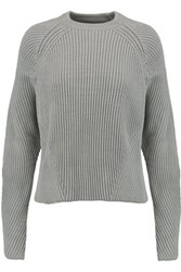 Maison Martin Margiela Cable Knit Cotton Blend Sweater Gray