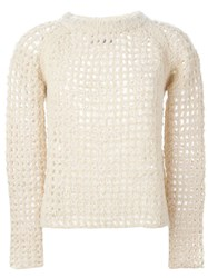 Zadig And Voltaire Fuzzy Fishnet Knit Sweater Nude And Neutrals