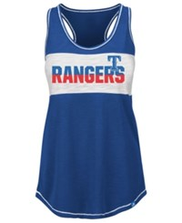 Majestic Women's Texas Rangers Gametime Glitz Tank Top Royalblue