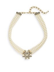 Heidi Daus Crisscross Faux Pearl And Swarovski Crystal Necklace Gold