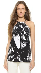 Kaufman Franco Abstract Print Top Onyx White