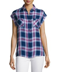 Rails Britt Plaid Short Sleeve Shirt Navy Magenta White
