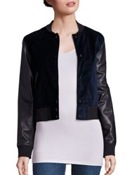 Rag And Bone Camden Velvet Leather Varsity Jacket Navy