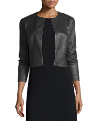 The Row Cropped Leather Zip Front Jacket Black