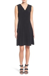 Women's Halogen Zip Pocket V Neck A Line Dress Black