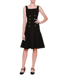 Dolce And Gabbana Sleeveless Square Neck Button Front Dress Black Nero