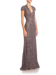 Pamella Roland Embroidered Lace Gown Granite