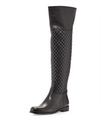 Sesto Meucci Daryla Quilted Leather Riding Boot Black