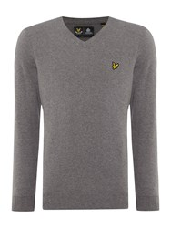 Lyle And Scott V Neck Long Sleeve Jumper Mid Grey Marl