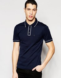 Original Penguin Heritage Slim Fit Polo Shirt With Tonal Piping Detail Navy
