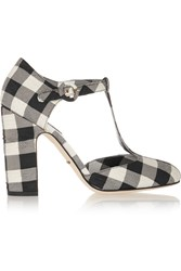 Dolce And Gabbana Gingham Brocade T Bar Pumps Black