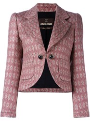 Roberto Cavalli Cropped Tweed Jacket Pink And Purple