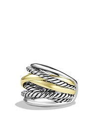 David Yurman Crossover Wide Ring With Gold Silver Yellow Gold