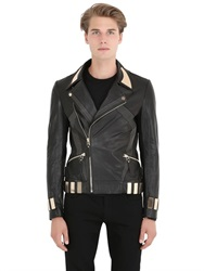 Christophe Terzian Metal Details On Leather Biker Jacket