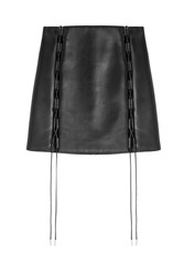David Koma Laced Leather Mini Skirt Black