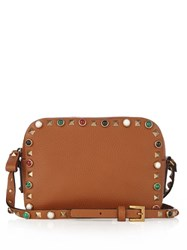 Valentino Rockstud Rolling Leather Camera Cross Body Bag Tan