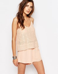 Vila Lace Double Layer Playsuit Blush Pink
